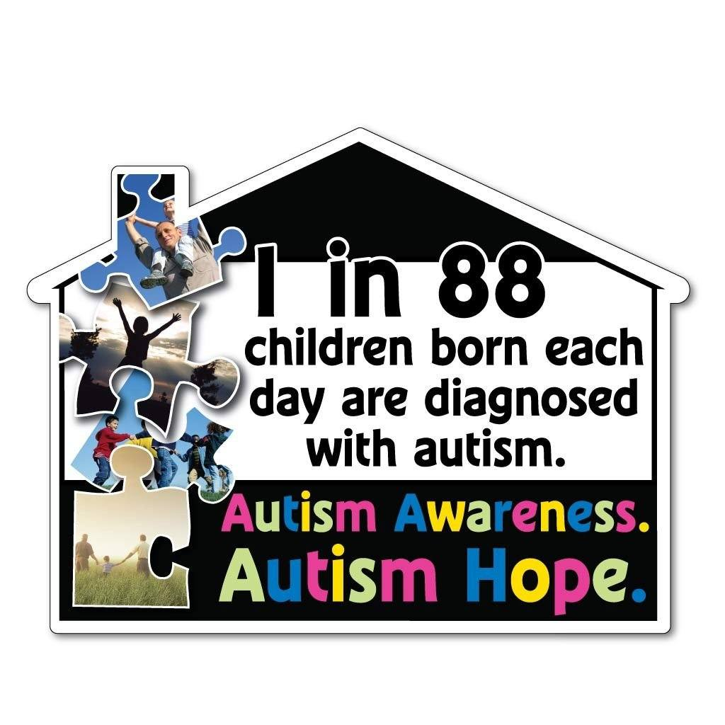 House Shaped Autism Awareness Corrugated Plastic Yard Sign - FREE SHIPPING
