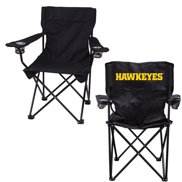 "University of Iowa ""Hawkeyes"" Black Folding Camping Chair with Carry Bag"