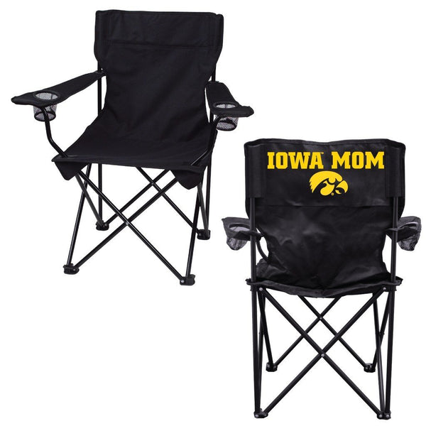 "University of Iowa ""Iowa Mom"" Black Folding Camping Chair with Carry"