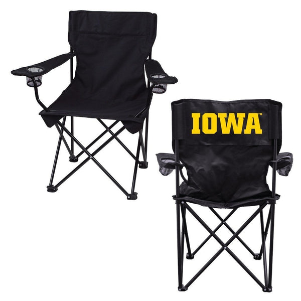 "University of Iowa ""Iowa"" Black Folding Camping Chair with Carry Bag"