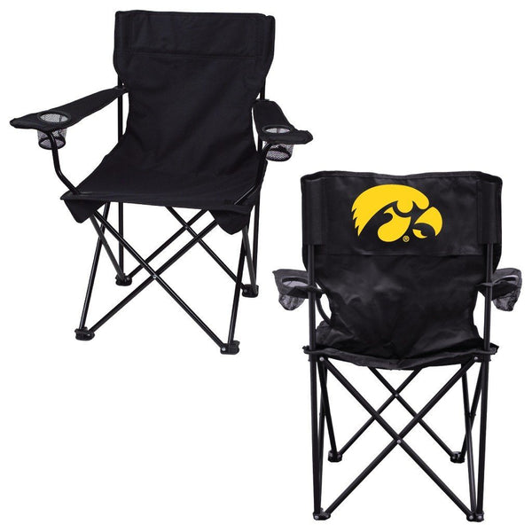 "University of Iowa ""Tigerhawk"" Black Folding Camping Chair with Carry"