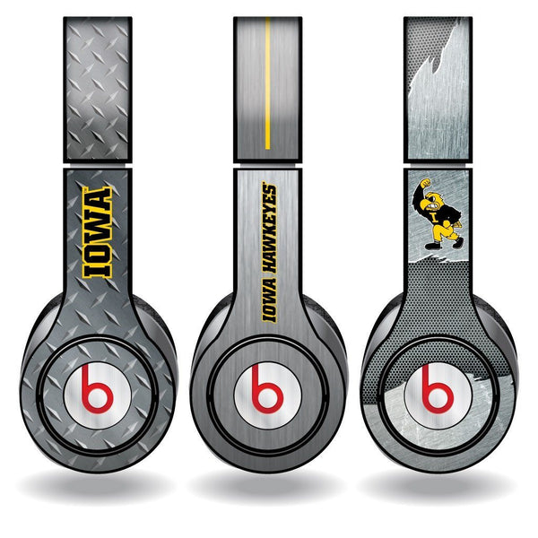 "University of Iowa "" Set of 3 Metal Patterns "" Skins for Beats Solo HD"