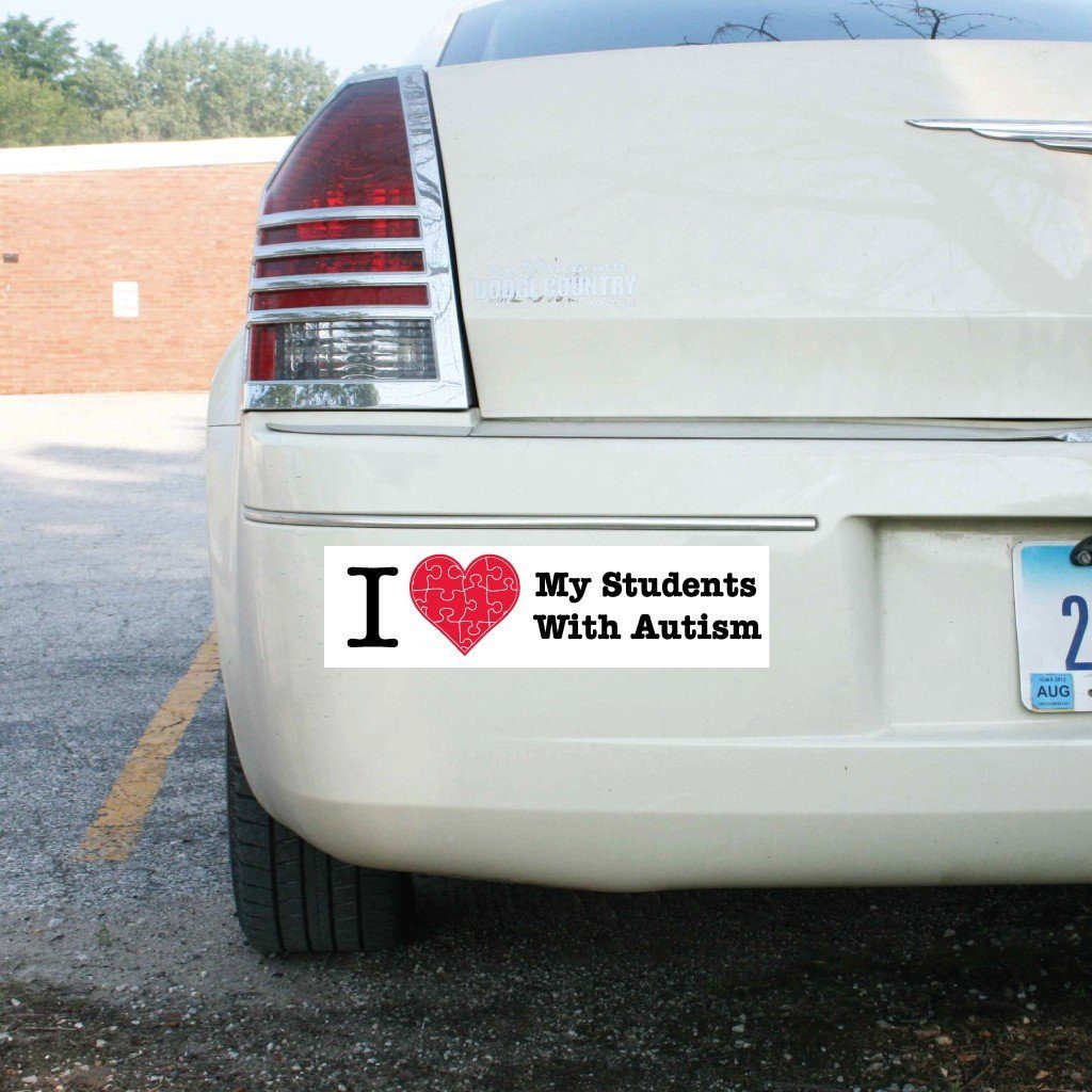 I Love My Students with Autism Bumper Magnet 3 x 11.5 - FREE SHIPPING