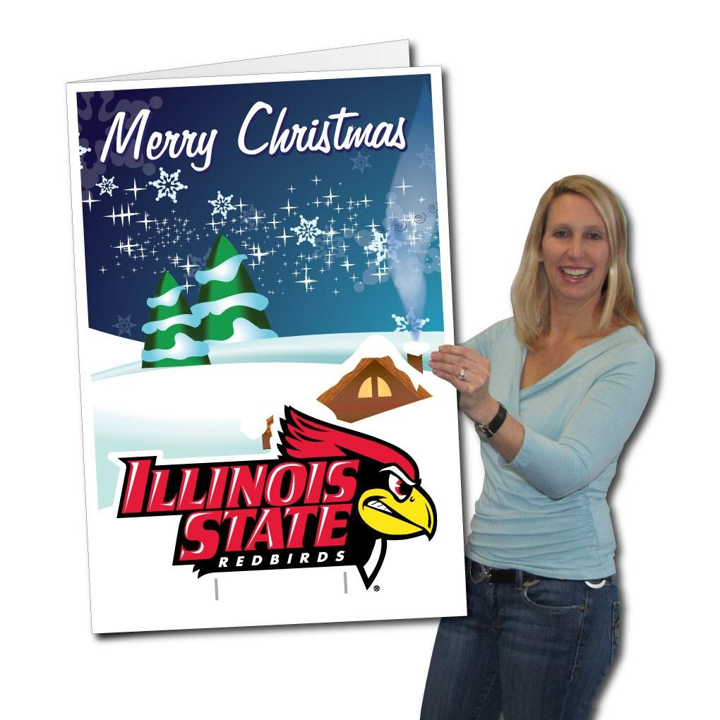 A giant Illinois State University holiday card