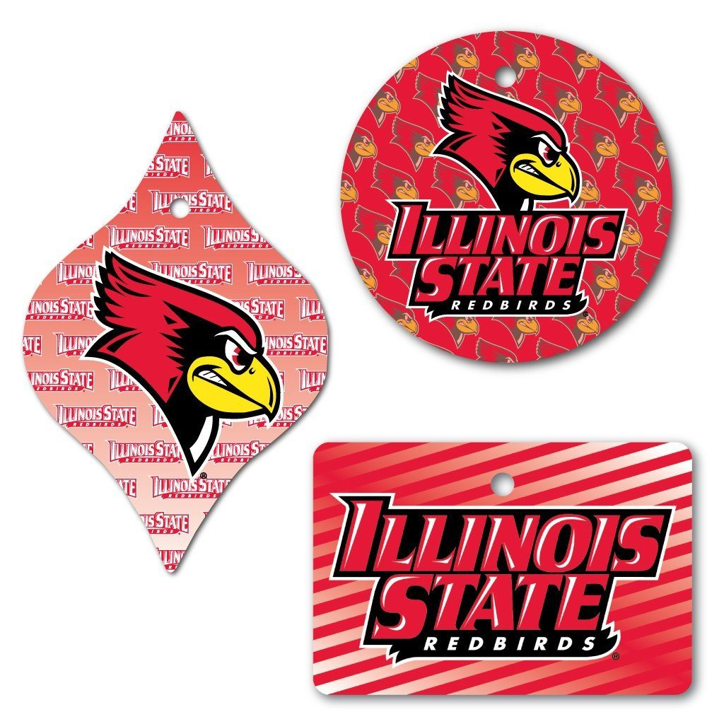 Illinois State University Aluminum Multiple Shaped Ornament Set of 3 - FREE SHIPPING