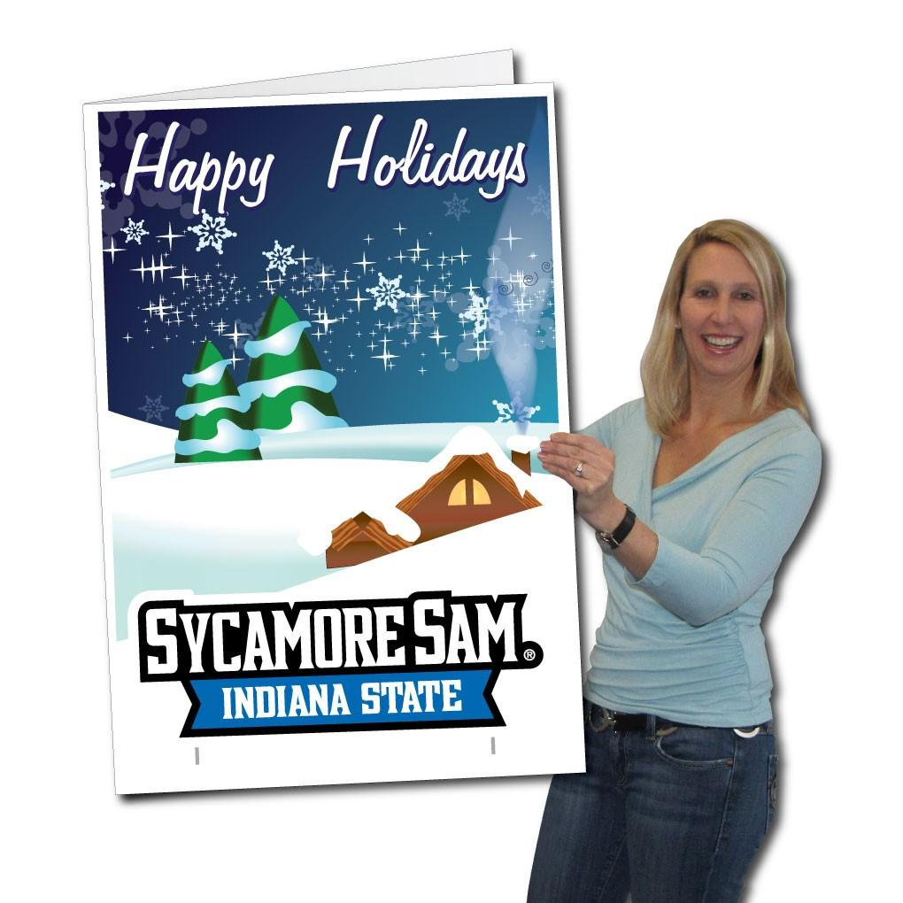 Indiana State University 2x3 Giant Holiday Greeting Card Yard Sign