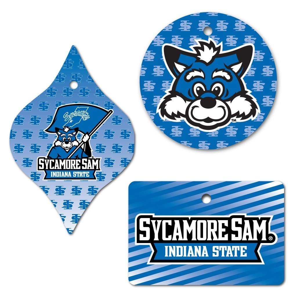 Indiana State University Ornament - Set of 3 Shapes - FREE SHIPPING