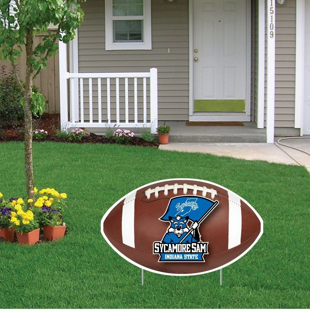 A Indiana State University football themed yard sign