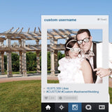 A photo booth for a wedding with a social media design