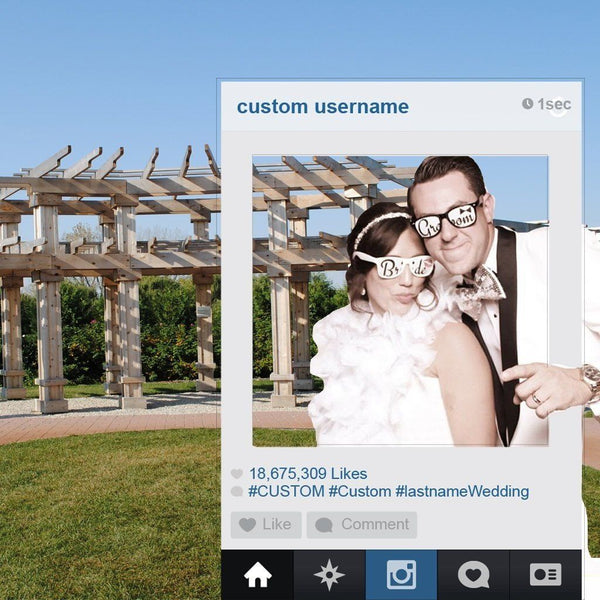 Social Media Frame Custom Wedding Photo Booth Set of 2