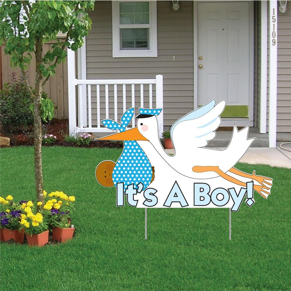 It's a Boy Die Cut Stork, Baby Announcement Yard Sign - FREE SHIPPING