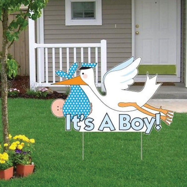 It's a boy yard decoration sign