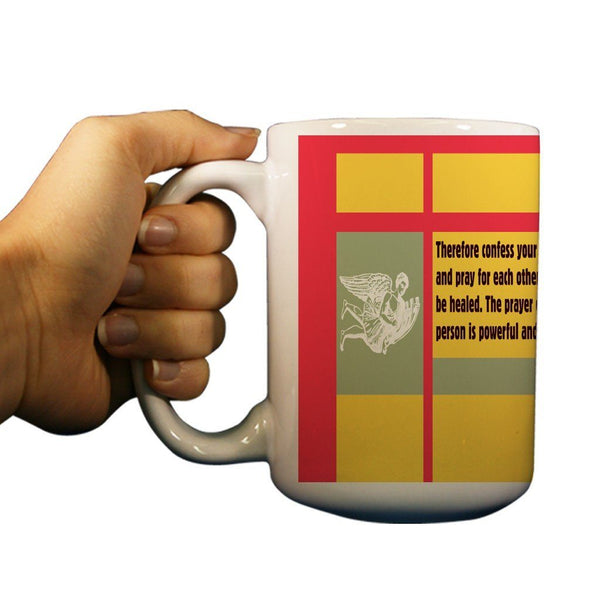 James 5:16 Religious 15oz Coffee Mug