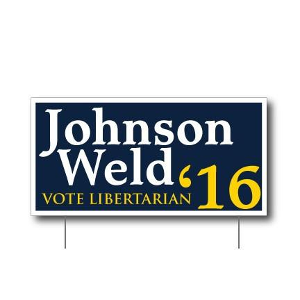 "Johnson Weld 12""x24"" Corrugated Plastic Sign - 2 Sided with EZ Stakes"