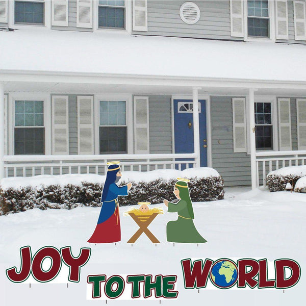 Joy to the World Nativity Christmas Lawn Decorations