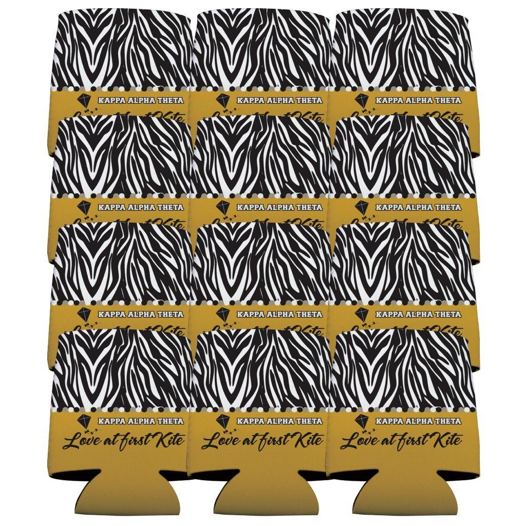 Kappa Alpha Theta Can Cooler Set of 12 - Zebra Print FREE SHIPPING
