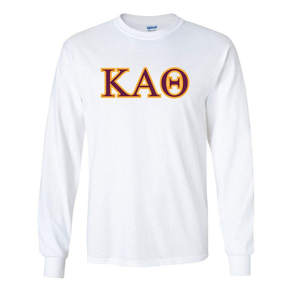"Kappa Alpha Theta Greek Letter Design Long Sleeve T-Shirt "" White &"