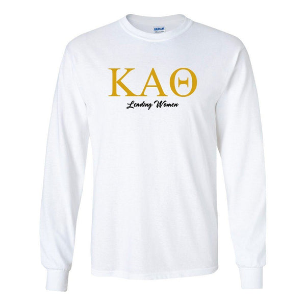 "Kappa Alpha Theta ""Leading Women"" Long Sleeve T-shirt "" White & Sport"