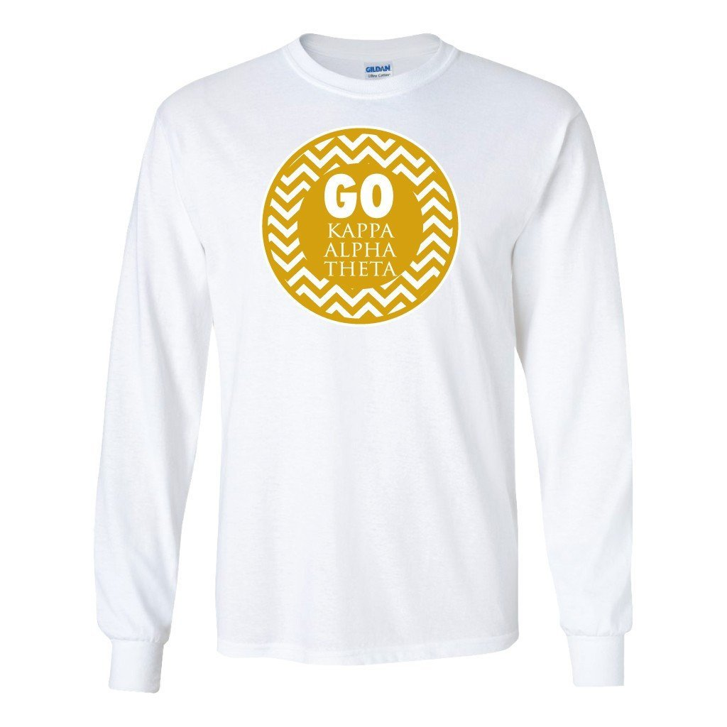 "Kappa Alpha Theta ""Go Kappa Alpha Theta"" Long Sleeve T-shirt "" White &"