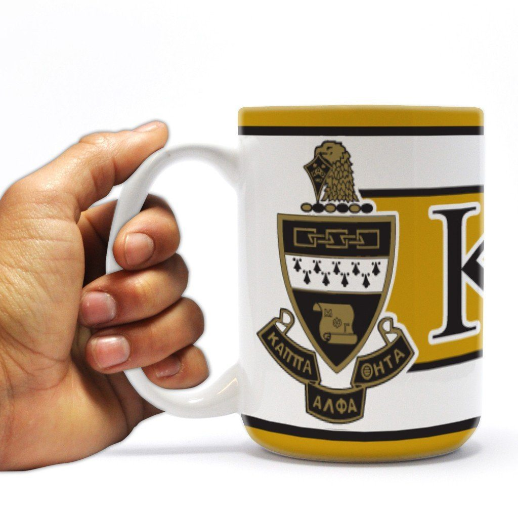 Kappa Alpha Theta 15 ounce Coffee Mug Coat of Arms with Three Yellow