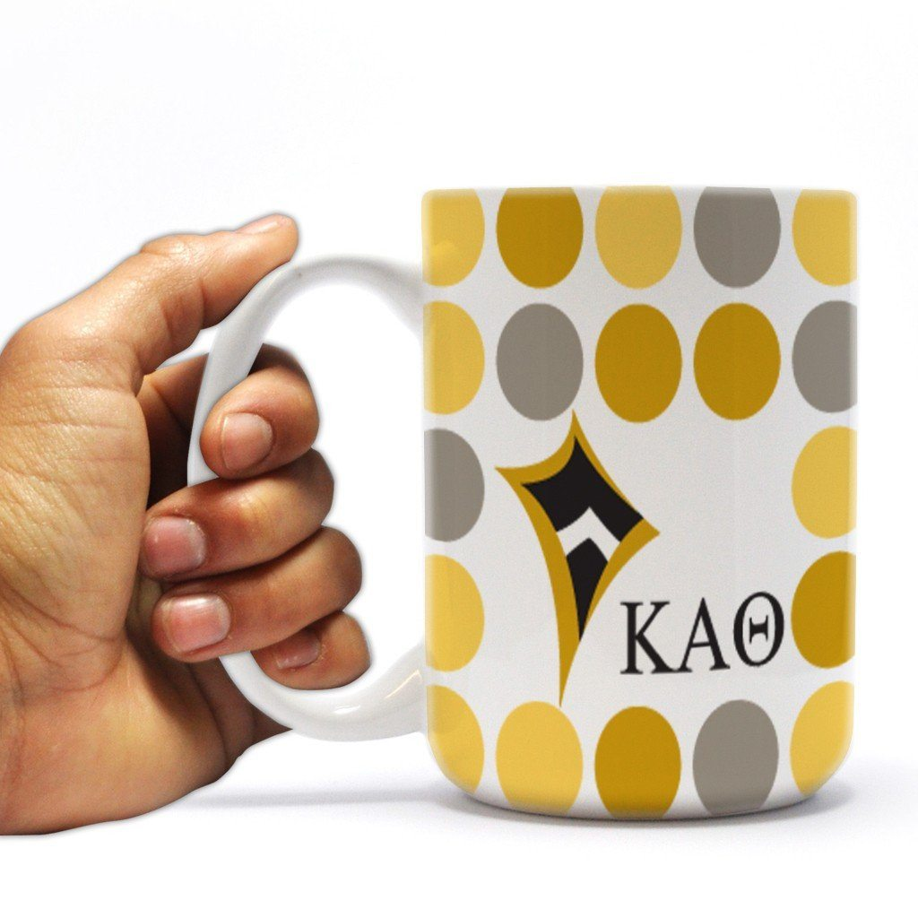Kappa Alpha Theta 15 ounce Coffee Mug Polka Dot Pattern Design