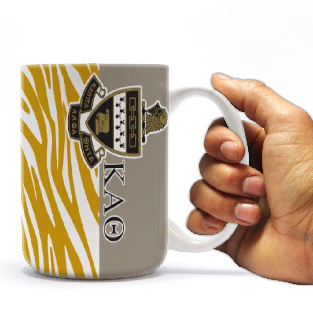 Kappa Alpha Theta 15 ounce Coffee Mug Zebra Print Design