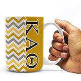 Kappa Alpha Theta 15 ounce Coffee Mug Chevron Stripe Design