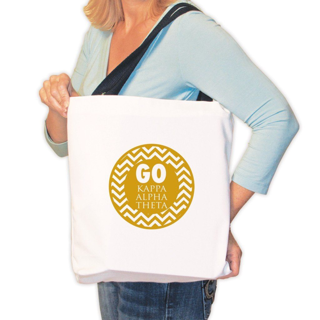 Kappa Alpha Theta Canvas Tote Bag - Chevron Stripes Design