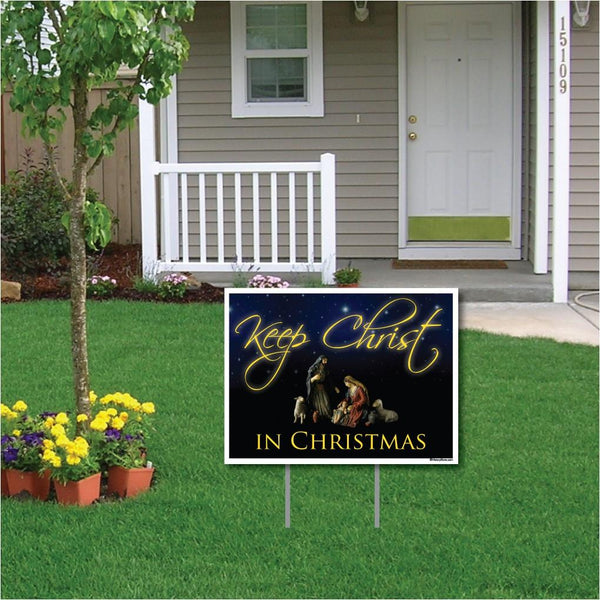 Keep Christ in Christmas Lawn Display (Black Design) Yard Decoration