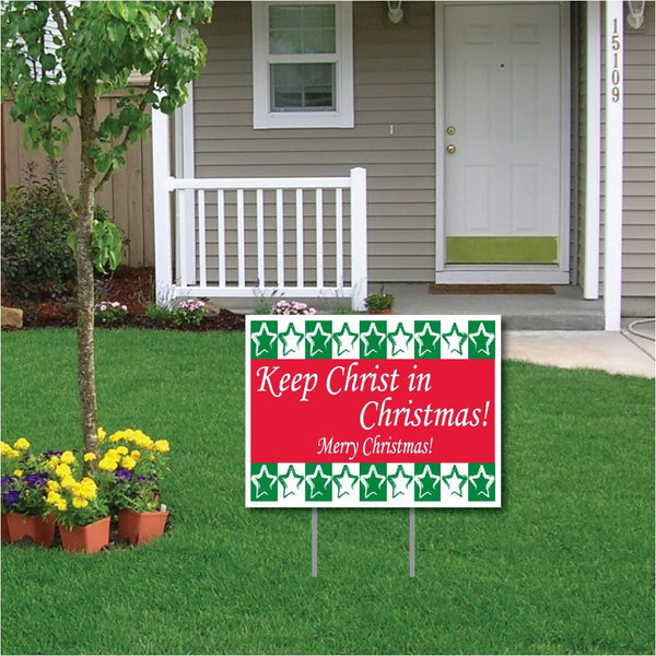 Keep Christ in Christmas Lawn Display (Green and Red) Sign
