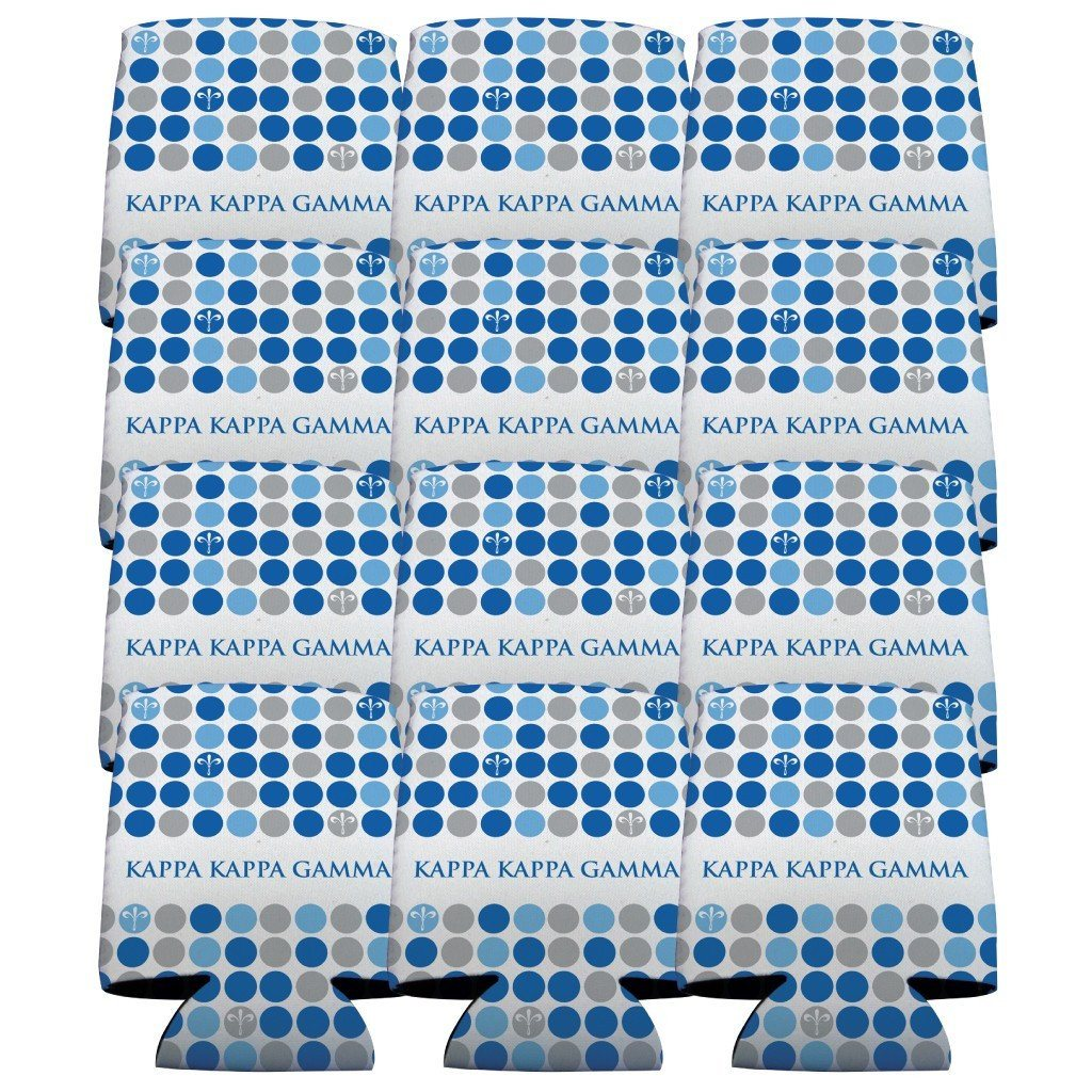 Kappa Kappa Gamma Can Cooler Set of 12 - Polka Dot FREE SHIPPING