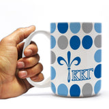 Kappa Kappa Gamma 15 ounce Coffee Mug Polka Dot Pattern Design