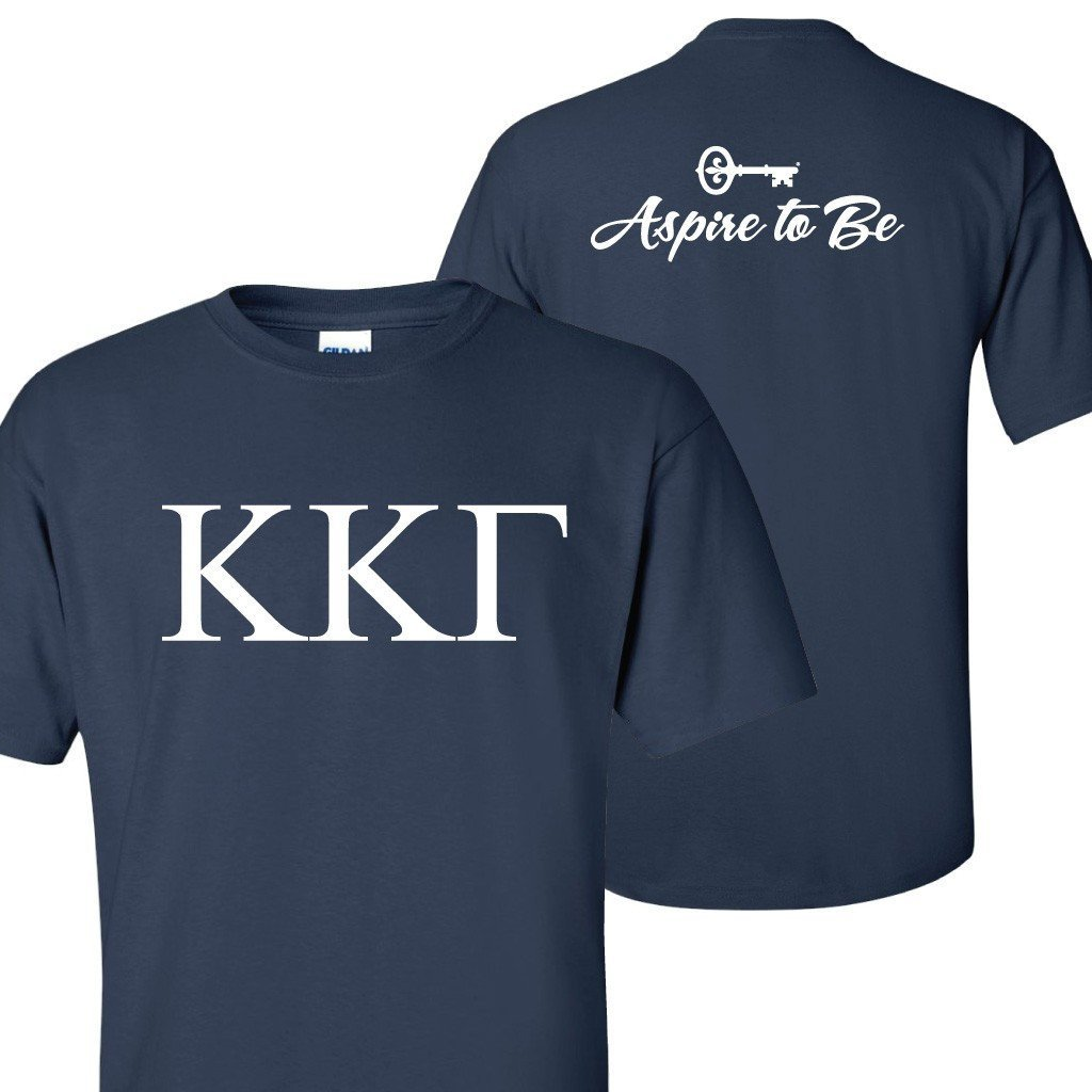 Kappa Kappa Gamma Greek Letter Front and Aspire Back Standard T-Shirt - FREE SHIPPING