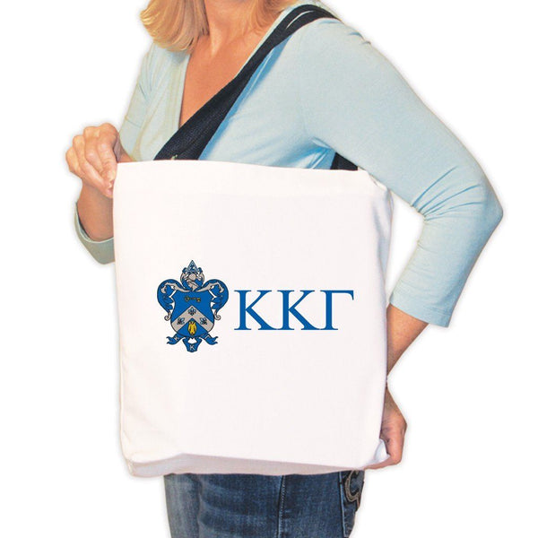 Kappa Kappa Gamma Canvas Tote Bag - Coat of Arms and Greek Letters