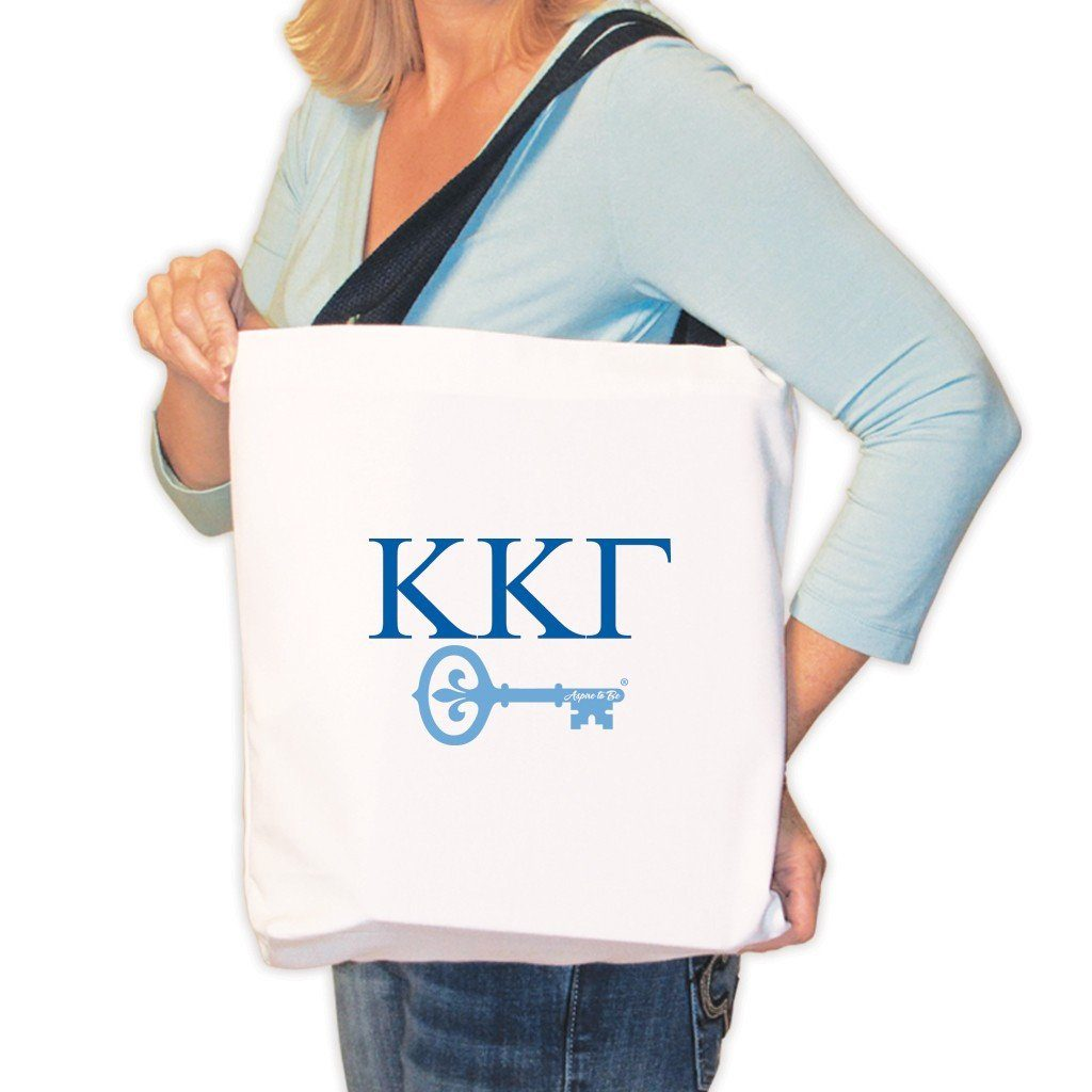 Kappa Kappa Gamma Canvas Tote Bag - Greek Letters and Key Design