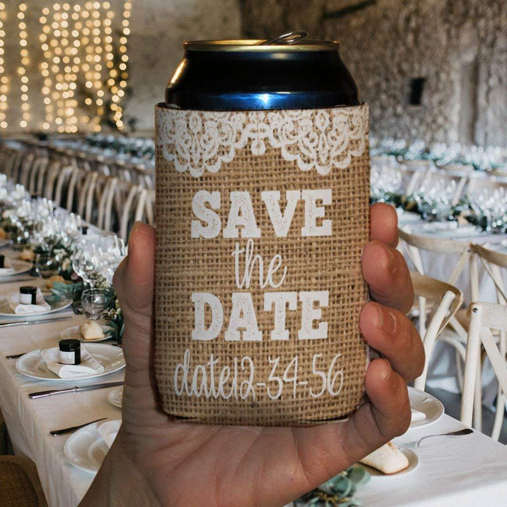 Customizable Can Koozie - Rustic Burlap SAVE THE DATE Wedding (25)