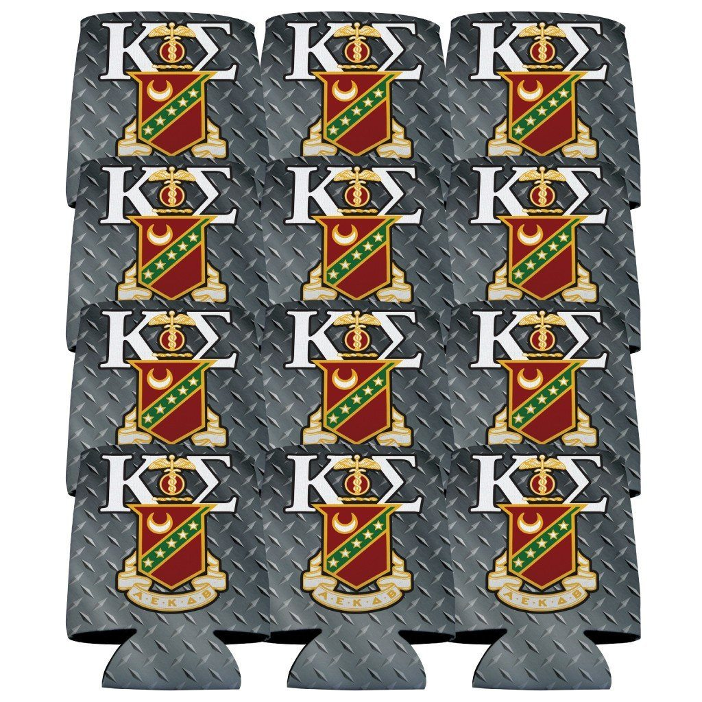 Kappa Sigma Can Cooler Set of 12 - Steel Plate FREE SHIPPING