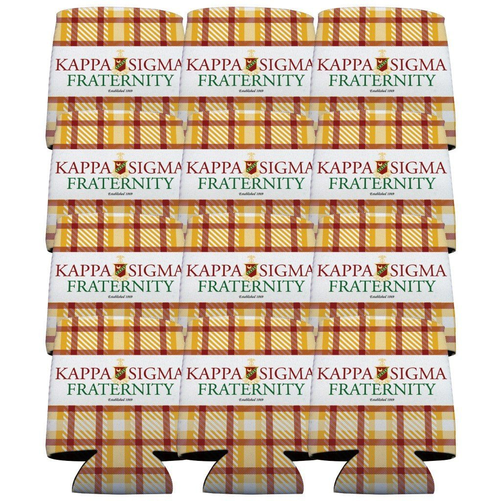 Kappa Sigma Can Cooler Set of 12 - Plaid FREE SHIPPING