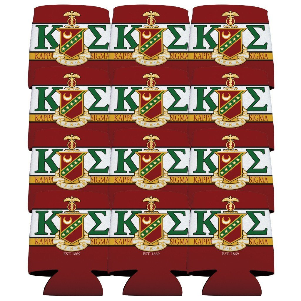 Kappa Sigma Can Cooler Set of 12 - KE and Shield Design
