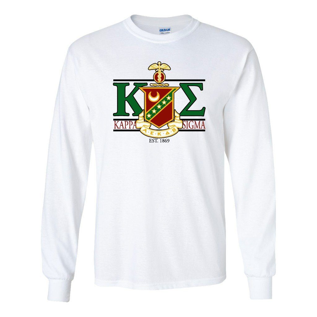 Kappa Sigma Long Sleeve T-shirt Greek Letters with Large Crest Design