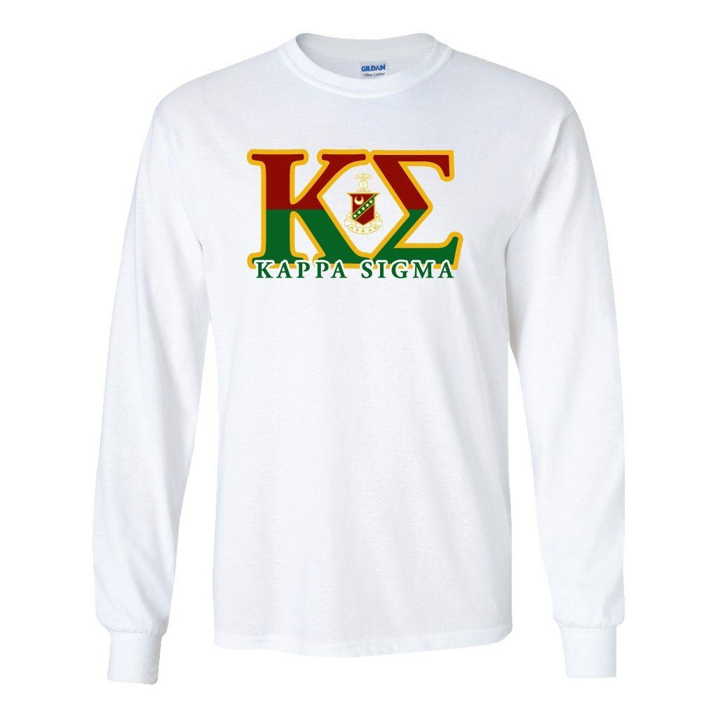 Kappa Sigma Long Sleeve T-shirt Two Toned Greek Letters with Small