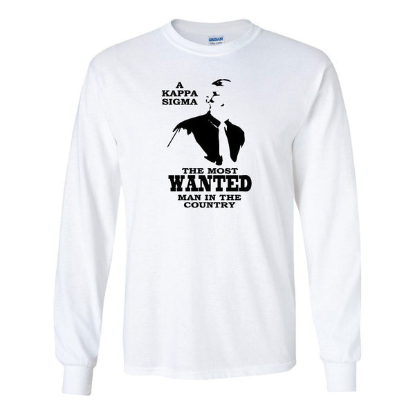 "Kappa Sigma Long Sleeve T-shirt ""Most Wanted Man"" Design - White &"