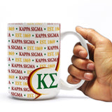 "Kappa Sigma 15oz Coffee Mug "" Greek Letters with Motto Design"
