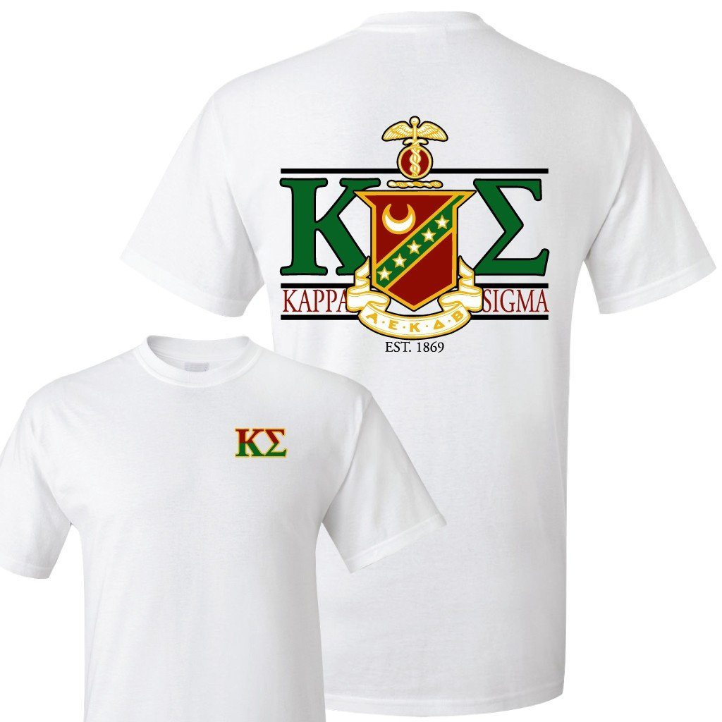 Kappa Sigma Standard T-Shirt - Crest and Greek Letter Back Imprint - FREE SHIPPING