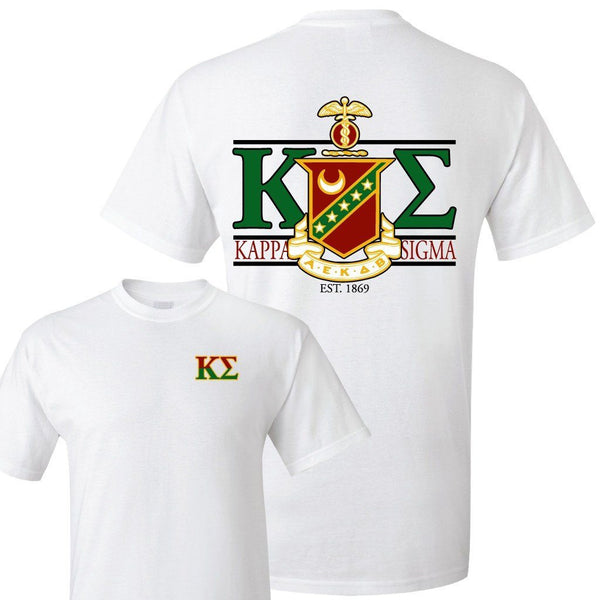 Kappa Sigma Standard T-Shirt - Crest and Greek Letter Back Imprint ""