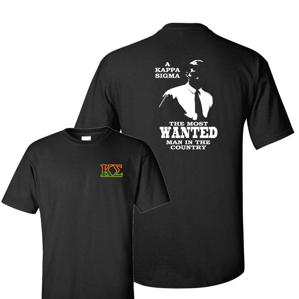 Kappa Sigma Standard Black T-Shirt - Most Wanted Man - FREE SHIPPING