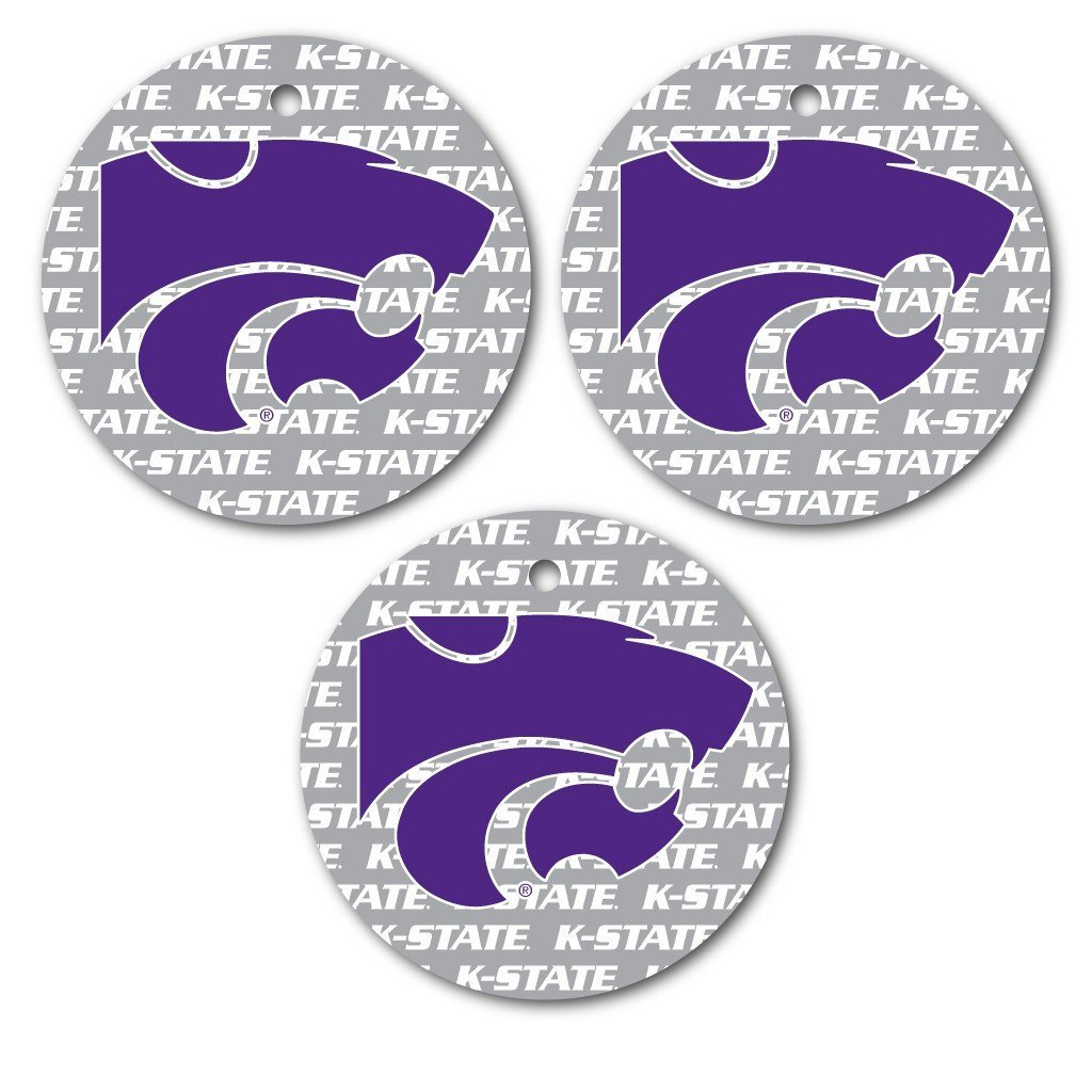 Kansas State University Ornament - Set of 3 Circle Shapes - FREE SHIPPING