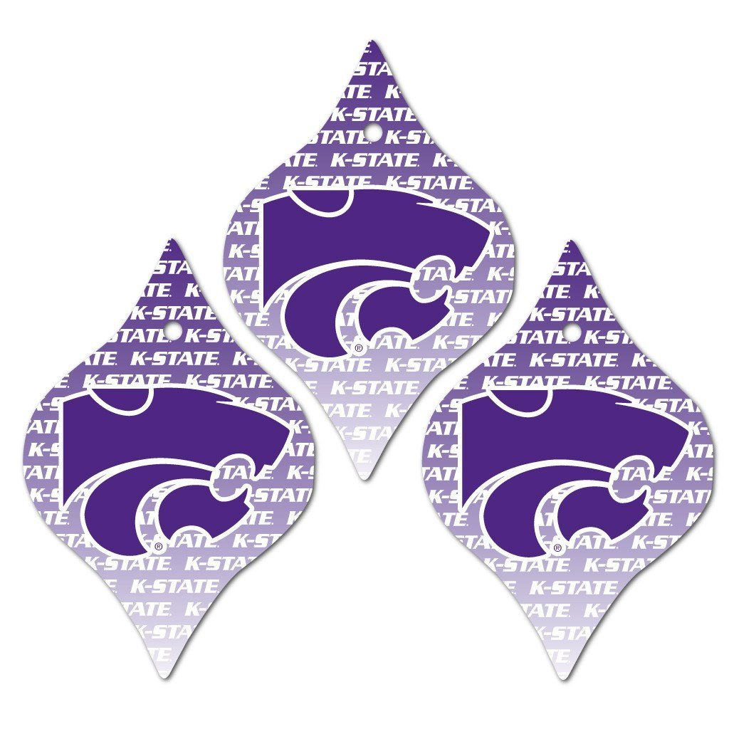 Kansas State University Ornament - Set of 3 Tapered Shapes - FREE SHIPPING