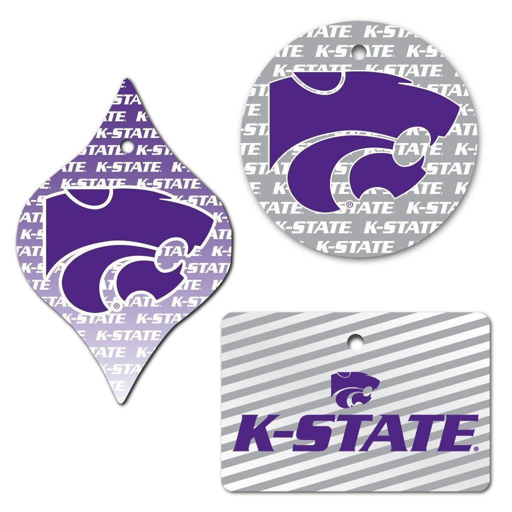 Kansas State University Ornament Set of 3 Shapes - FREE SHIPPING