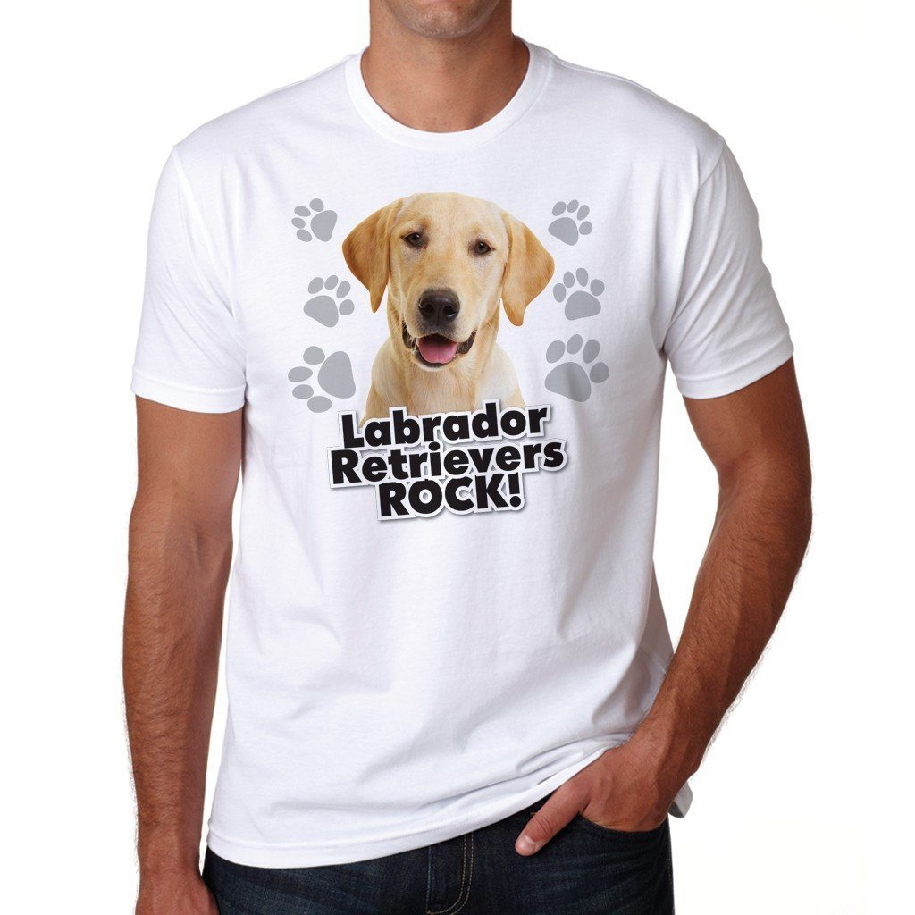"A Dog Theme T-Shirt that says ""Labrador Retrievers Rock!"""